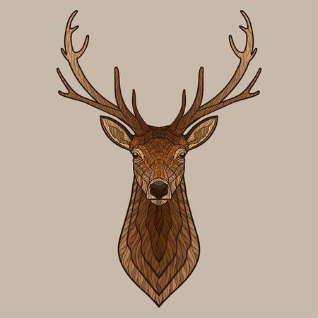 Deer head. Decorative isolated vector illustration. No gradients