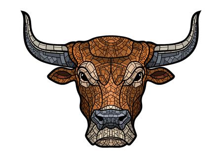 Ilustración de Bull head isolated in mosaic style. - Imagen libre de derechos