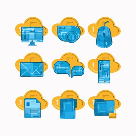 Illustration pour set of computer element icons with texture design - image libre de droit