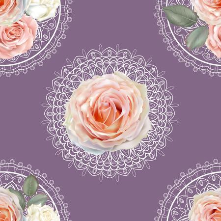 Illustration pour Floral seamless pattern,Roses and lace on purple background - image libre de droit