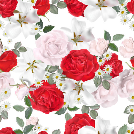 Photo pour Floral seamless pattern- white and red roses vector illustration-vector - image libre de droit