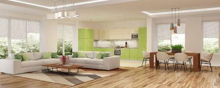 Photo pour Modern house interior. 3d rendering. - image libre de droit