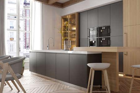 Foto de Modern interior of kitchen with living room - Imagen libre de derechos