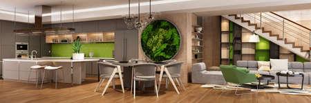 Photo pour Modern interior of kitchen with living room - image libre de droit