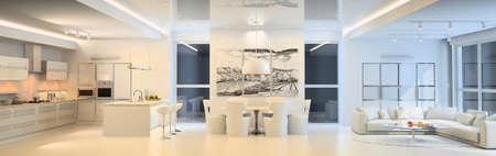 Photo pour Modern living room with the kitchen - image libre de droit