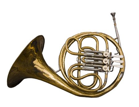 Antique dented French Horn well loved and weathered by time.