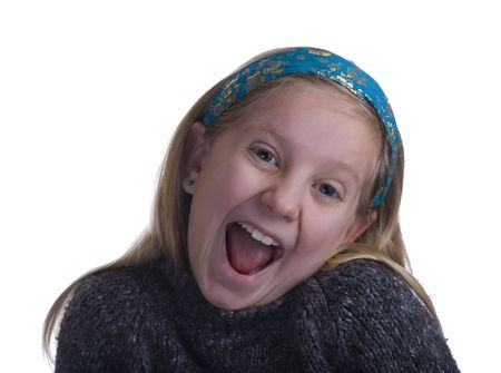 Ecstatic girl in gray sweater on a white background
