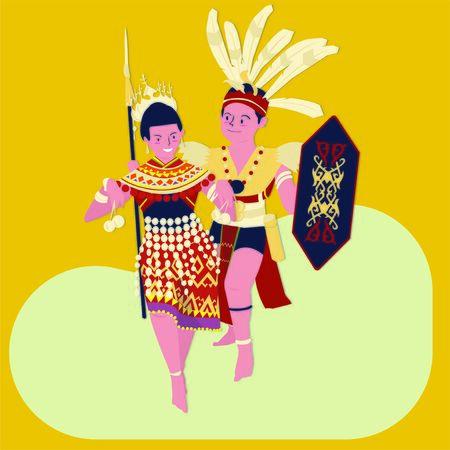 Illustration for vector illustration of The gawai Dayak (hari gawai)festival:man and women dayak dance - Royalty Free Image