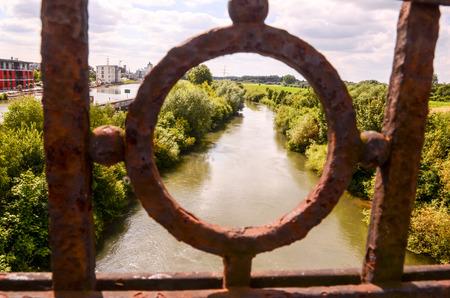 Green River Bridge View Through Rusty Railing
