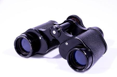 Vintage Used Black Binoculars on white background