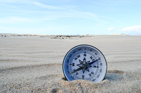 Conceptual Photo Picture of a compass in the dry desert