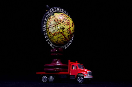 Truck With Earth Globe Delivery Transportation Concept