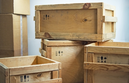 wooden boxes post package