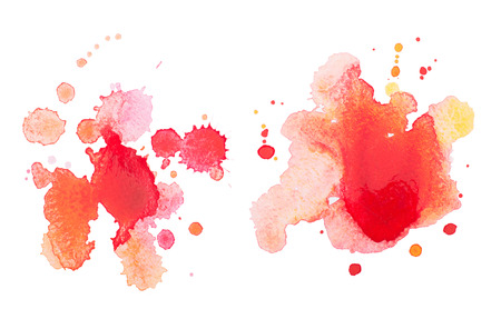 Abstract watercolor aquarelle hand drawn red drop splatter stain art paint on white background