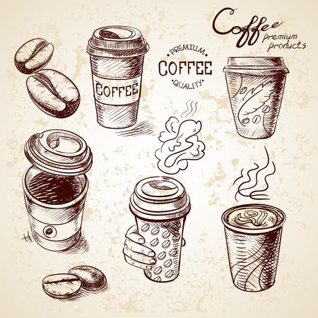 Illustration pour hand drawn doodle sketch vintage paper cup of coffee takeaway Menu for restaurant, cafe, bar, coffeehouse. - image libre de droit