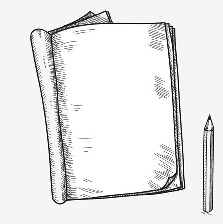 Illustration pour Hand drawn doodle sketch open notebook, clear page, template for notes memo notice comic book scrapbook sketchbook textbook with pencil. - image libre de droit