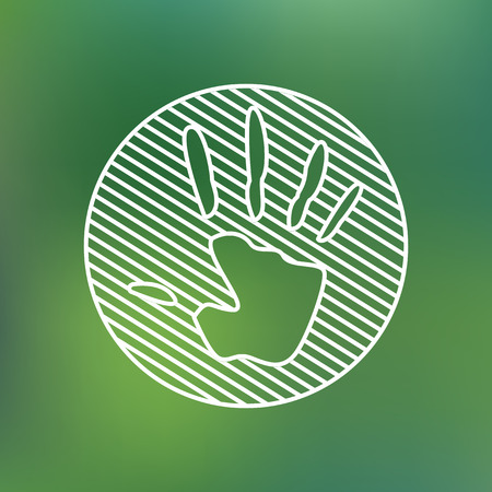 Hand print sign linear icon. Stop symbol. Planet protection care recycling save ecology concept.