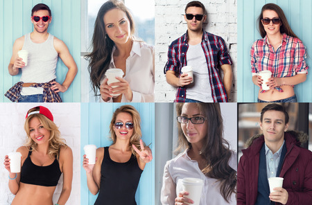 Collection of different many happy smiling young people faces caucasian women and men with coffee Concept avatar userpic social