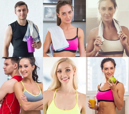 Photo pour Collection of different many happy smiling young sportive people faces caucasian athlete women and men. Concept business, avatar - image libre de droit