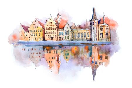 Foto de Bruges cityscape watercolor drawing, Belgium. Brugge canal aquarelle painting. - Imagen libre de derechos