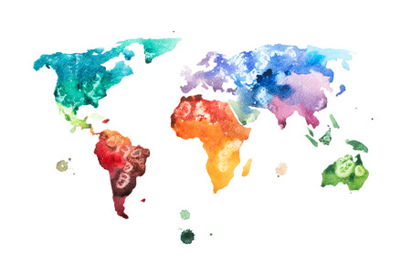 Photo pour Hand drawn watercolor world map aquarelle illustration - image libre de droit