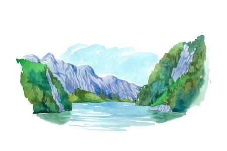 Natural summer landscape mountains and lake watercolor illustration.