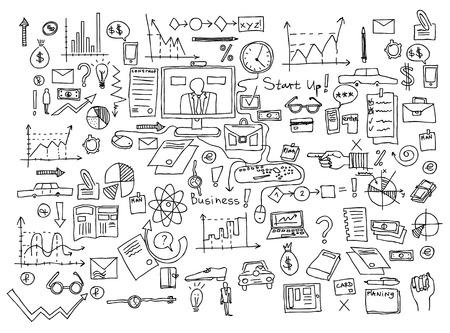 Illustration pour Business finance doodle icons - image libre de droit