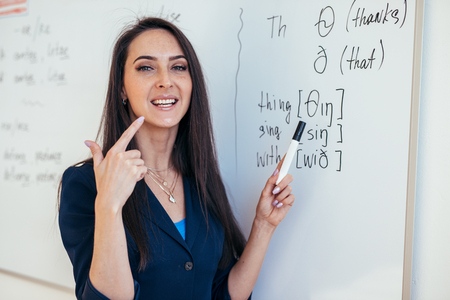 Photo for English lesson Teacher shows how to pronounce the sounds - Royalty Free Image