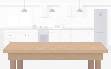 Ilustración de Modern new light interior of kitchen with white furniture. - Imagen libre de derechos