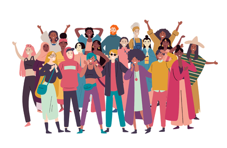 Illustration pour Group of diverse people, mixed race crowd - image libre de droit
