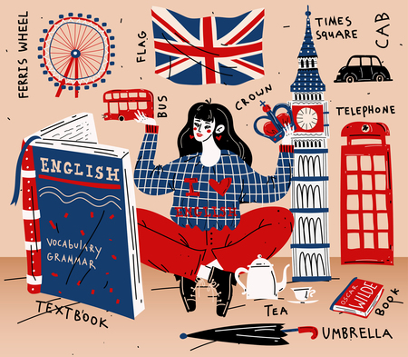 Illustration pour Young woman girl student learning english. Education, foreign language - image libre de droit