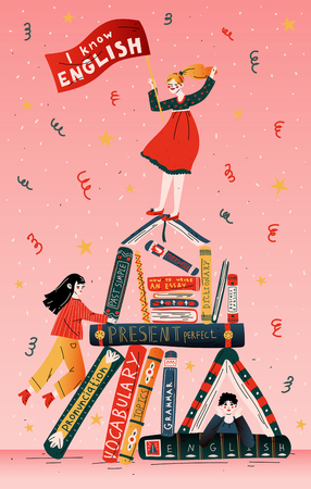 Illustration pour Students with books. Education, school, learning, studying - image libre de droit