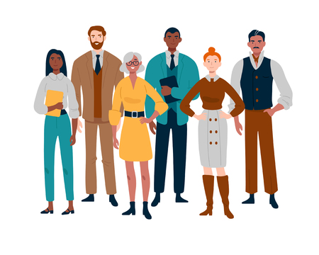 Illustration pour Portrait of business team standing together. Multiracial business people. - image libre de droit