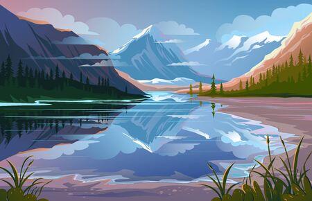 Illustration pour Beautiful nature, natural landscape. Evening mountain scenery - image libre de droit
