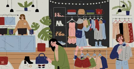 Illustration for Customers and staff in clothes shop, chain store. - Royalty Free Image