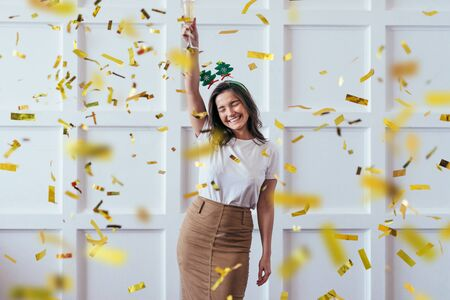 Photo for Portrait of young woman with glass celebrate Christmas or New Year - Royalty Free Image