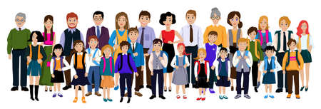 Illustration for Group of pupils with parents and teachers. - Royalty Free Image