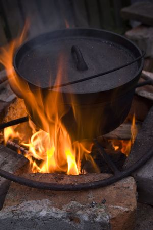 Cooking in a Dutch Oven over a fire