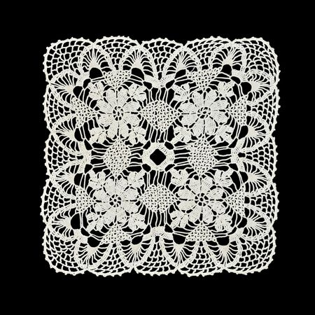 Photo pour White handmade lace (square form), isolated on black. - image libre de droit