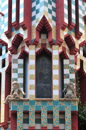 Window detail from Casa Vicens at Barcelona (Spain).It was Gaudi's first important work which is added to the UNESCO World Heritage Site.