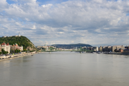 Liberty Bridge between Gellert hill and Pest from river the Danube. Budapest - Hungary
