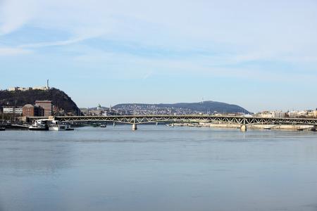 Petofi bridge between Gellert hill and Pest from river the Danube. Budapest - Hungary