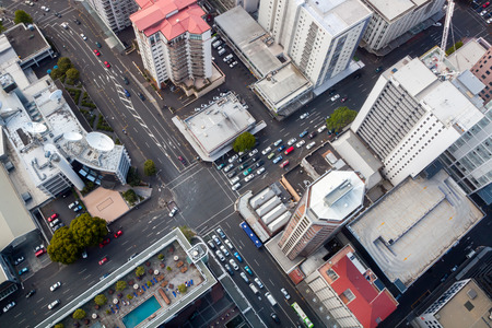 Modern City Crossroad from Bird's Perspective Auckland downtown taken from Sky Tower