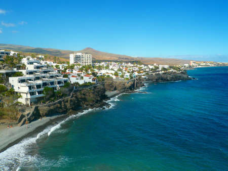 Panorama Image of the Beach in San Agustin / Gran Canaria. Wide sight on Coastline on a cloudless day
