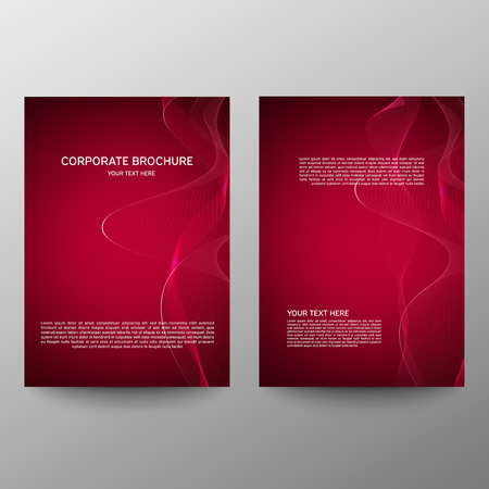 Illustration pour Brochure design a4. Abstract composition. Information banner. A set of page. Modern vector page. Ad flange. Abstract wave element for design. Red - image libre de droit