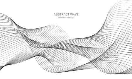 Illustration for Abstract wave element for design. Digital frequency track equalizer. Stylized line art background. Vector illustration. Wave with lines created using blend tool. Curved wavy line, smooth stripe - Royalty Free Image