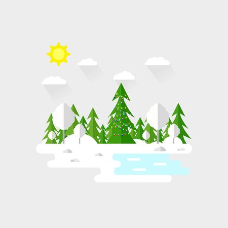 Illustration pour Illustration of beautiful forest, christmas tree scene. Winter landscape in flat style. Sunny day. Background. Mountains, forest, water, camping, hiking, tourism. - image libre de droit