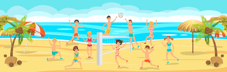 Sunny Day on Beach. Friends Play Volleyball on Sand. Friends on Beach. Summer activities on Beach. Happy People playing Beach Volleyball. Sport and Leisure. Vector Sport illustration.