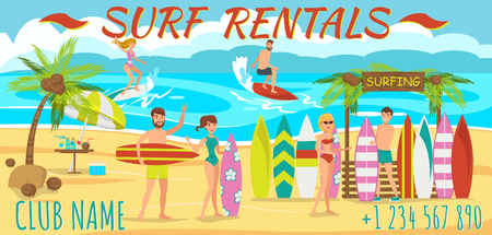 Friends are Surfing on Beach. Surfboard rental on Beach. Active Sports on Sunny Day. Man and Woman are surfing. Friends rest on Beach at weekend. People engaged in Water Sports. Vector Illustration.