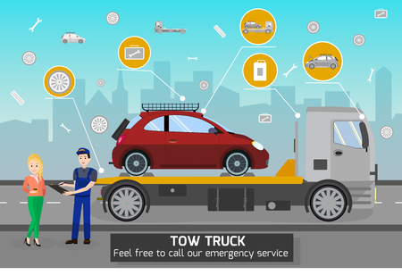 Illustration pour Tow Truck and Driver Services in City. Transportation company Business. Tow Truck Service and cityscape Concept. Car Evacuation, Roadside Assistance and Emergency Services. Vector Flat Illustration. - image libre de droit